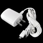 Compact 3-in-1 2-flat-pin Plug to Apple 30pin + Lightning connector + Micro USB Wall Charger - White