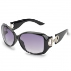 Fashion Women's UV400 Protection Plate Frame Resin Lens Sunglasses - Black