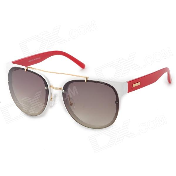 LANGTEMENG C56334 Fashion Women's UV400 Protection Plastic Frame Resin Lens Sunglasses - White + Red fashion uv400 protection round shape resin lens sunglasses wine red
