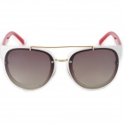 LANGTEMENG C56334 Fashion Women's UV400 Protection Plastic Frame Resin Lens Sunglasses - White + Red