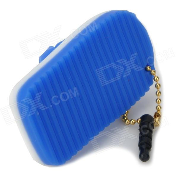 Creative Slipper Style Audio Jack Anti-Dust Plug for Iphone / Samsung / HTC - Blue + White (3.5MM)