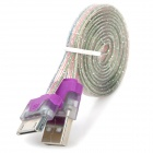 USB to 30-Pin Data/Charging Flat Cable w/ Indicator Light for iPhone 4 / 4S - Purple + Transparent