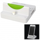 Stylish Charging Docking Station w/ SD/TF Card Reader + USB 2.0 2-Port HUB for iPhone 5 - White