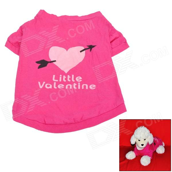 Love Heart w/ Arrow Pattern Pet Dog Cloth Cotton T-Shirt - Deep Pink (Size M) cute love heart arrow angel bracelet for women