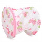 Folding Underwear Laundering Bag - White + Pink + Green