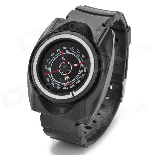Outdoor Sport Plastic Analog Wrist Compass - Black