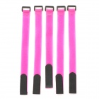Battery Ribbon Fastener Velcro Cable Tie for RC Helicopter - Deep Pink + Black (5PCS / Length 30CM)