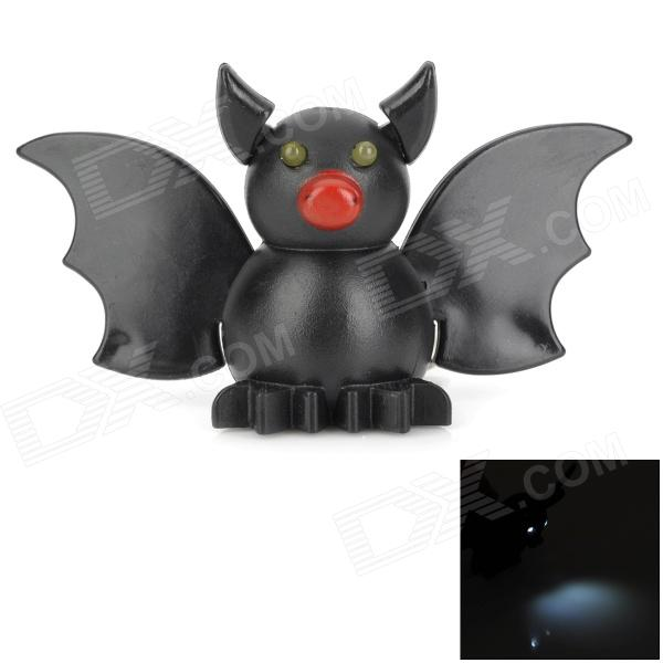 Cartoon Bat Style White Light LED Keychain w/ Sound Effect - Black (3 x AG13) slr telephoto lens led white light keychain w sound effect yellow black orange 3 x ag13