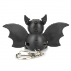 Cartoon Bat Style White Light LED Keychain w/ Sound Effect - Black (3 x AG13)