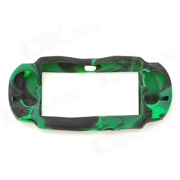 Stylish Flexible Silicone Protector for PS Vita - Black + Green