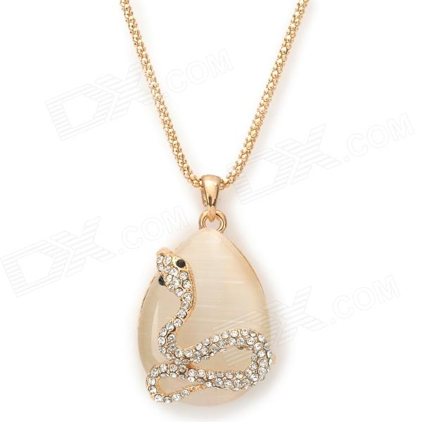 Zinc Alloy Chain Cat's Eye w/ Crystal Snake Pendant Necklace for Women - Golden + White elegant crystal drill zinc alloy chain pendant necklace for women golden translucent white