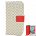 Fashion Square Pattern PU Leather Case for Samsung Galaxy S3 / i9300 - White + Red