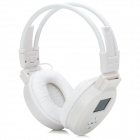"MJ-328 Folding 1.4"" LCD 3.5mm Jack Stereo MP3 Headphone w/ FM / Mini USB / TF - Black + White"