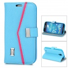 Lychee Pattern Protective PU Flip-open Case w/ Stand for Samsung S4 - Blue