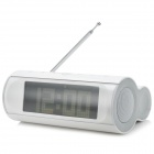 "3306A Fashion Touch Button Speaker w/ 4.7"" Screen LED FM Radio Alarm Clock - White + Silver (4 x AA)"
