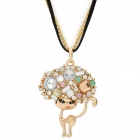 Gold Plated Rhinestones Explosion Hair Cat Style Pendant Necklace for Women - Multicolored