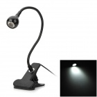 1W 6500K White Light Clip On Adjustable LED Spotlight - Black