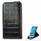 Crocodile Skin Style Protective PU Leather Case for Samsung Galaxy S4 i9500 - Black