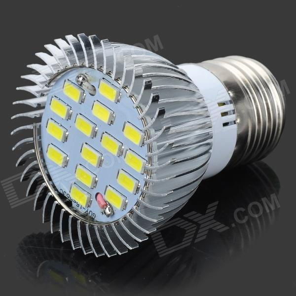 ZIYU ZY-657 E27 4W 675lm 6500K 15-SMD 5730 LED White Light Bulb - Silver + White (110~240V)