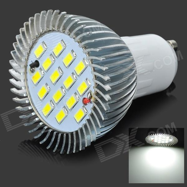 LeXing GU10 7.5W 675lm 6500K 15-SMD 5730 LED White Light Bulb - Silver + White (110~240V)