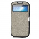 Twill Pattern Protective PVC Flip-open Case for Samsung i9500 - Black + Grey