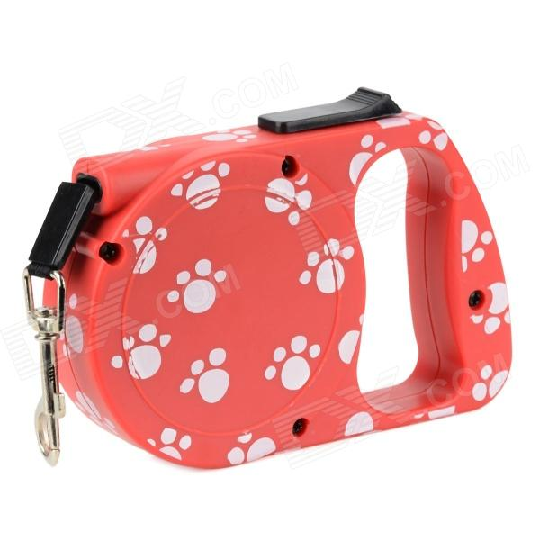 Footprints Pattern Automatic Retractable Leash - Red (300cm) hot sale retractable leash butterflies pattern automatic rope for pet puppy