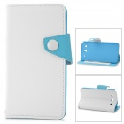 IDEWEI Protective PU Leather Flip-open Case w/ Stand for LG F240K / F240 - White + Blue