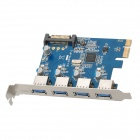 PCI-E to USB3.0 Expand Card w/ 4 Port - Blue + Silver