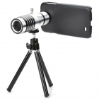 12X Zoom Optical Lens Telescope w/ Tripod & Phone Back Case for Samsung Galaxy S4 i9500 - Black