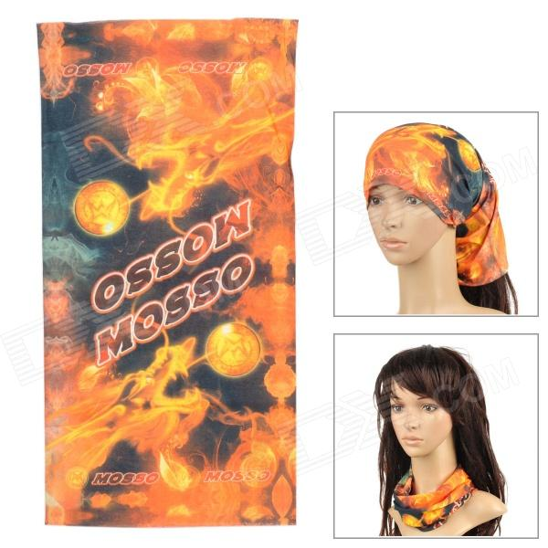 Multifunctional Seamless  Polyester Magci Turban Scarf - Orange + Black