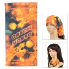 Multifunktionale Seamless Polyester magci Turban Schal - Orange + Schwarz