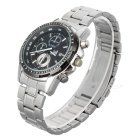 Fashion Stainless Steel Men's Quartz Analog Wrist Watch w/ Calendar - Silver + Black (1 x 377)
