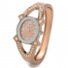 Frauen Ellipse Resin Dial Titanium Alloy Band w / Strass Quarz Analog Armbanduhr - Brown