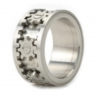 Cool Stainless Steel Ring w/ Rotatable Gears - Silver