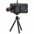 Handy 8X Zoom Optical Lens Telescope w/ Tripod & Phone Back Case for Samsung Galaxy S4 i9500 - Black