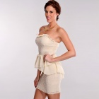 LC2794 Fashionable Sexy Crochet Peplum Tuxedo Style Backless Dress for Women - Ivory (Size-L)
