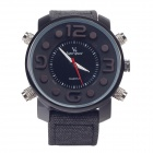 SuperSpeed V0165 Stylish Linen Band Double Quartz Analog Men's Wrist Watch - Grey + Black (1 x LR62)