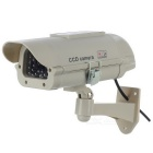 XYT-2300 Solar Energy Powered Dummy Camera w/ Flashing LED - White