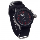ORKINA W010 Stylish Canvas Band Quartz Men's Wrist Watch + Simple Calendar - Black + Red (1 x LR626)
