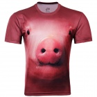 LAONONGZHUANG Cool 3D Pig Head Pattern Artificial Fiber T-Shirt for Men - Brown (XL)