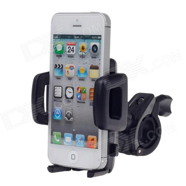 Universal Motorcycle Bicycle 4-Port Holder for 3.7 / 4.5'' Cellphone / MP5 / GPS - Black (3.6~8cm) m09 motorcycle bicycle water resistant holder stand for iphone 4 4s black