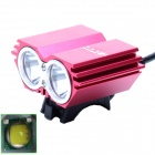 SHISHUNJIA SL-8202R 2 x Cree XM-L U2 2000lm 4-Mode White Bicycle Light & Headlamp - Red (4 x 18650)