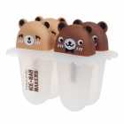 4-in-1 Cute Lovers Bear Style Ice Lolly Mould Set - Light Brown + Brown + Transparent White