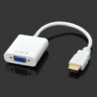 HDMI to VGA Adapting Cable Compatible w/ HDCP 1.0 / 1.1 / 1.2 / 1.3 - White (19cm)