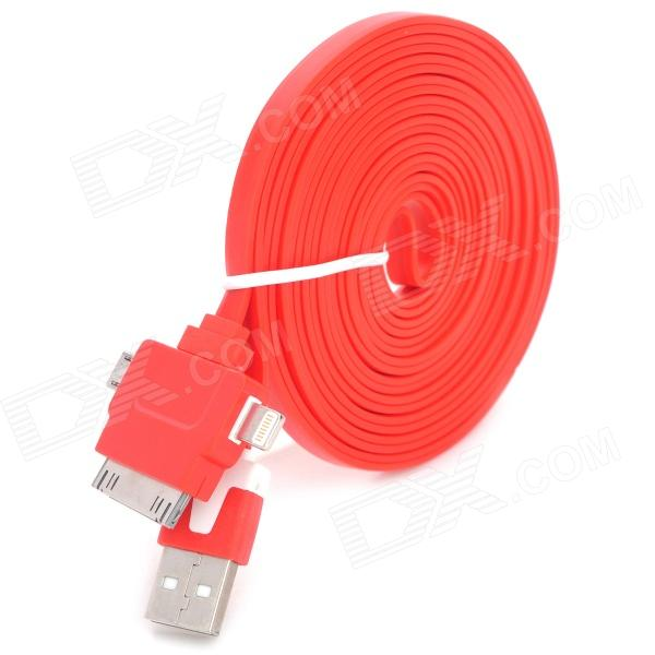USB to 8-Pin Lightning / 30-Pin / Micro USB Data/Charging Flat Cable for iPhone / Samsung - Red