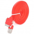 USB-zu-8-Pin Blitz / 30-Pin / Micro USB Data / Laden Flachkabel für iPhone / Samsung - Red