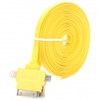 USB to 8-Pin Lightning / 30-Pin / Micro USB Data/Charging Flat Cable for iPhone / Samsung - Yellow