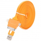 USB-zu-8-Pin Blitz / 30-Pin / Micro USB Data / Laden Flachkabel für iPhone / Samsung - Orange