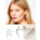 Climbing Person Style Zinc Alloy Clip Earrings for Women - Silver