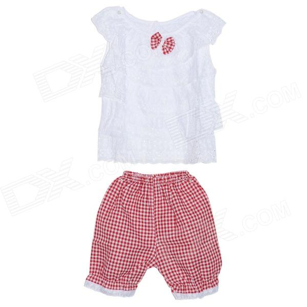 Cool Summer Childred Girl Cotton Hollow Suit - Red + White